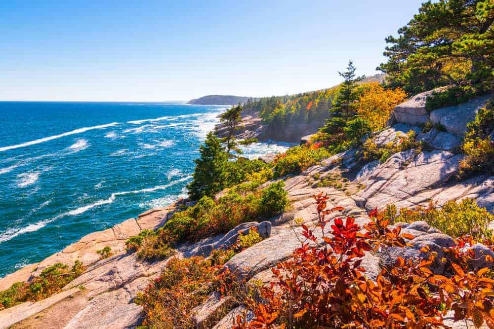 A view of the coastland of Maine.