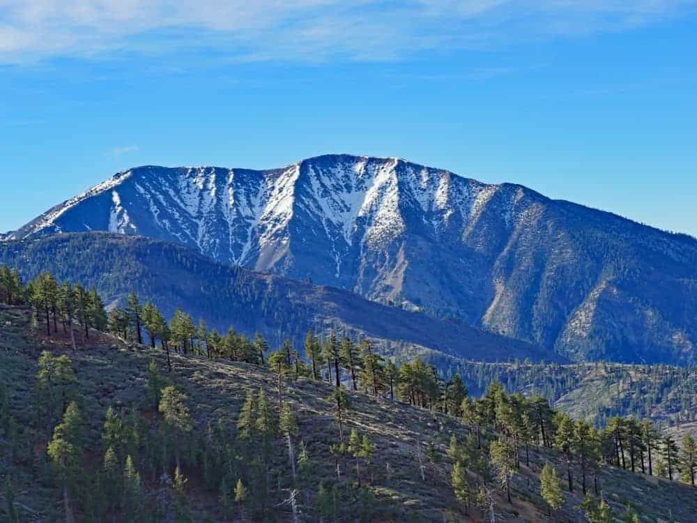 A look at the snow-capped peaks of Mount Baldy.