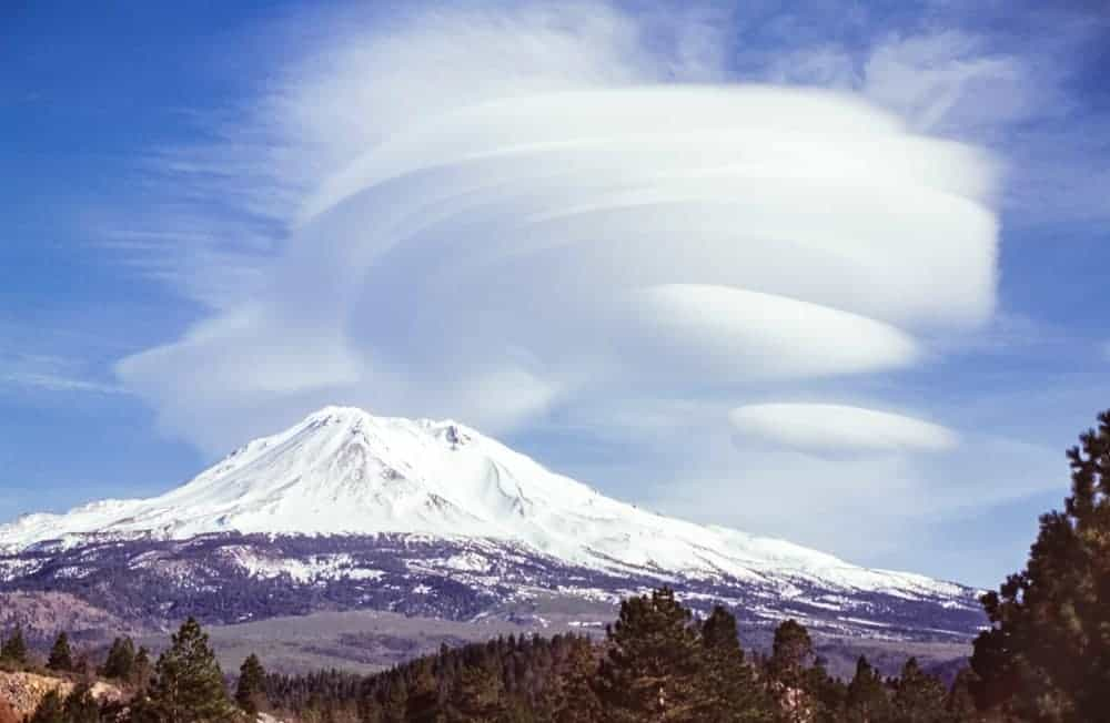 A look at the snow-covered Mount Shasta in the distance.