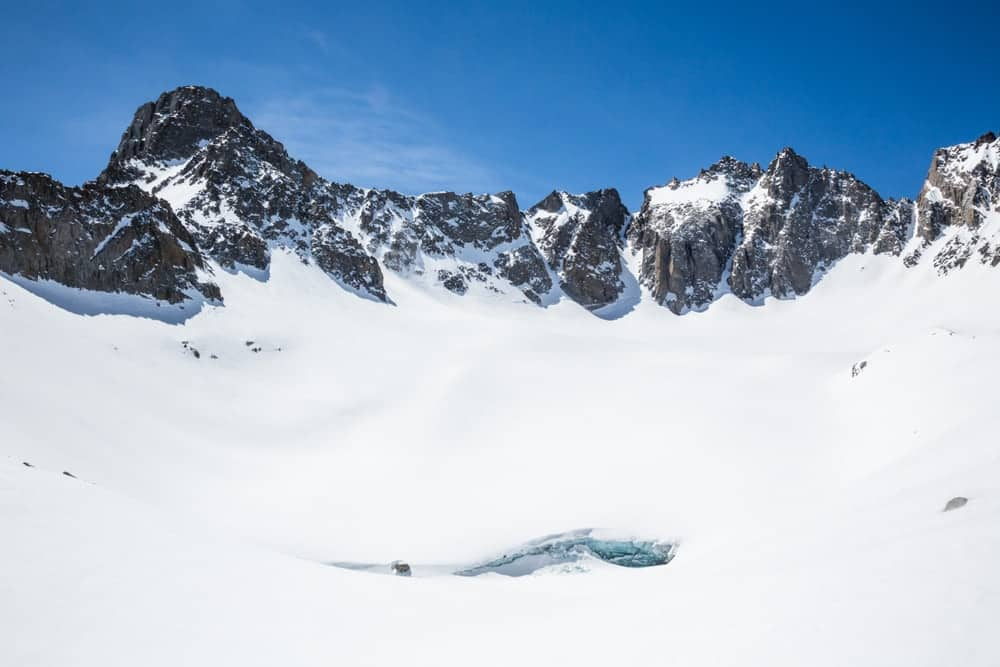 A look at the snow-covered Mount Sill.