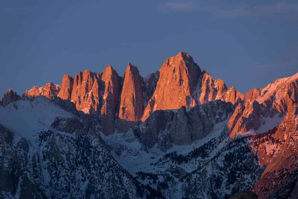 A look at the peaks of Mount Whitney at sunset.