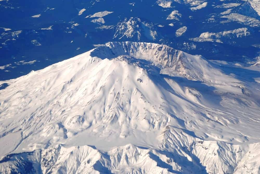 An aerial view of snow-covered Mt. St. Helens.