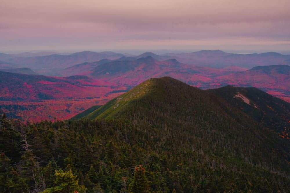 This is an aerial view of the colorful Mt. Carrigain.