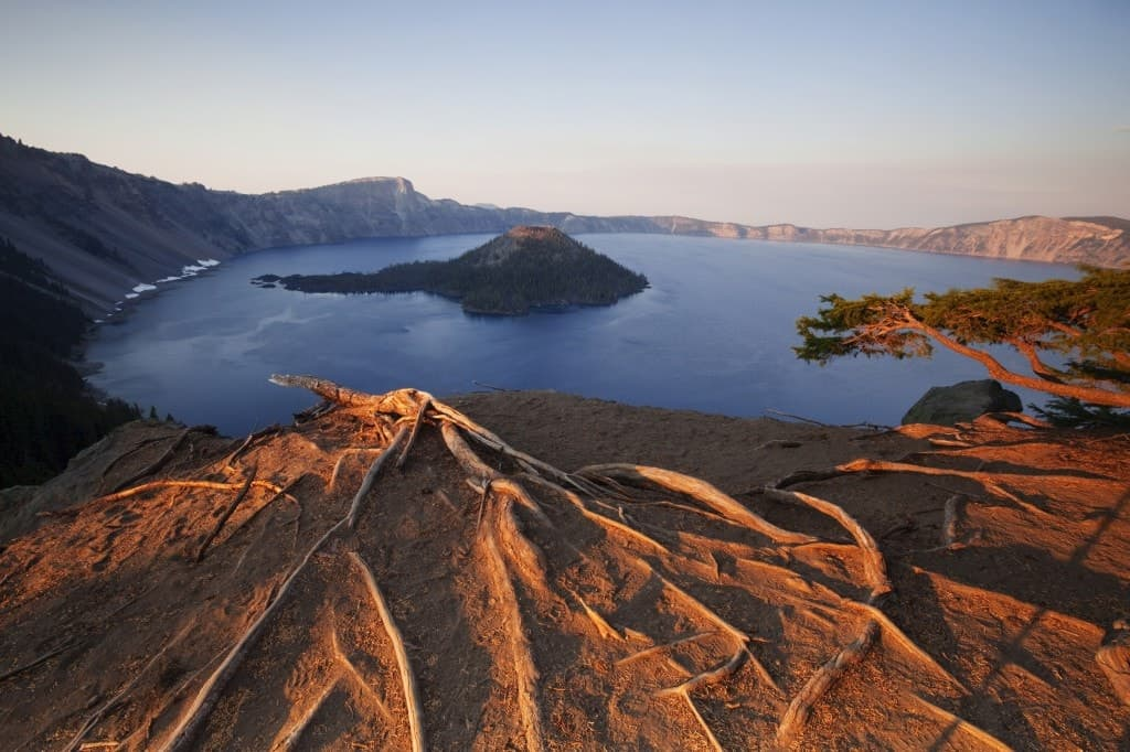 An aerial view of the Crater Lake and Wizard Island in Crater Lake National Park, Oregon.