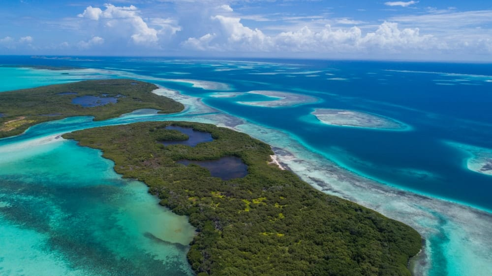 This is an aerial view of the islands of Los Roques National Park.