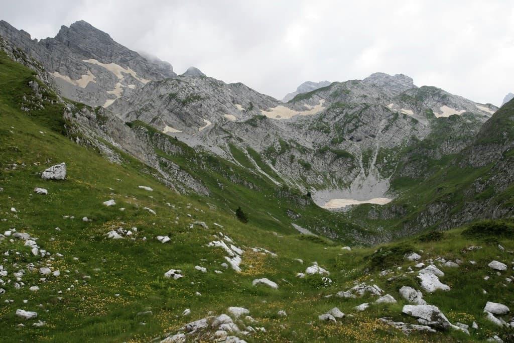 A scenery of mountain range in Pokletije National Park in Europe.