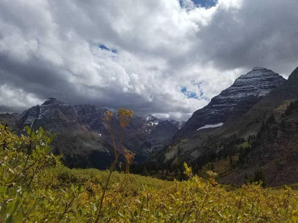 A scenic view of Pyramid Peak.