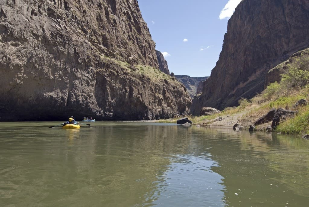 A couple of rafters on the Lower Owyhee river in Oregon.