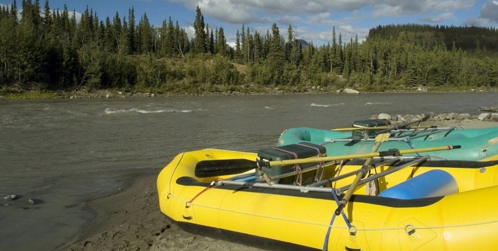 A close look at rafts lined up along a river ready for adventure.