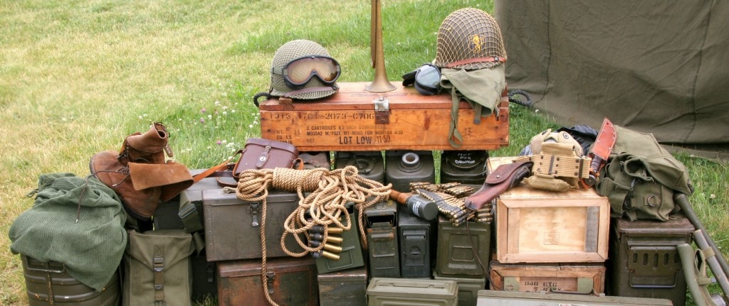 A stockpile of military surplus equipment and gear.