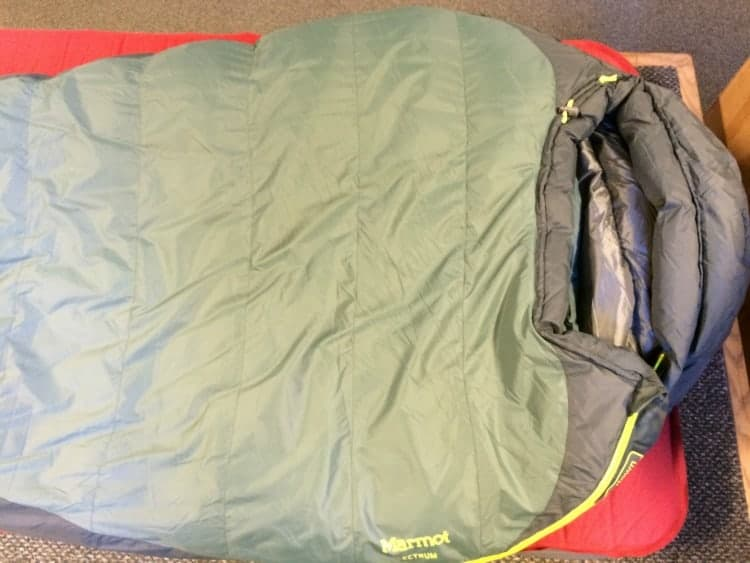 A Marmot Electrum synthetic mummy sleeping bag for under $100.