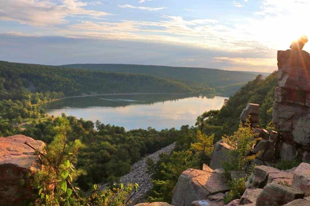 An aerial view of Devil's Lake State Park, Wisconsin.