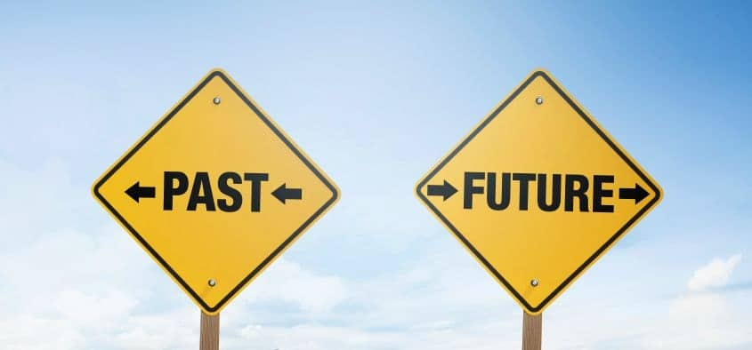 Signs showing the way to the past and future.