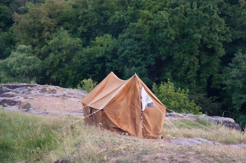 The old orange tent on a rock against the backdrop of the forest.