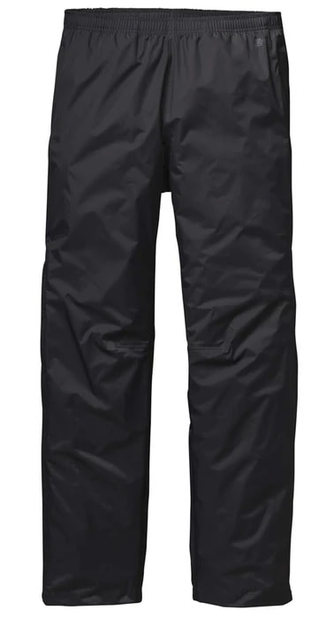 A pair of black torrentshell pants from Patagonia.