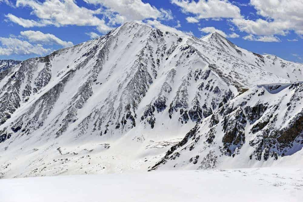 A look at the snow-covered Torreys Peak.