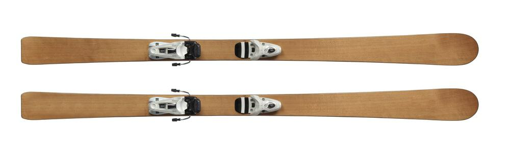 A pair of simple wooden skis.
