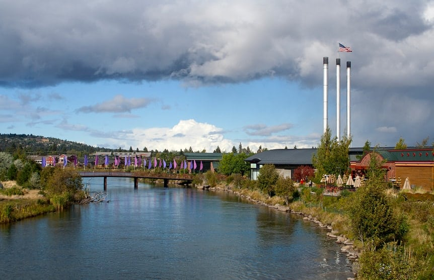 A view of the old mill district, footbridge and Deschutes River in Bend Oregon.