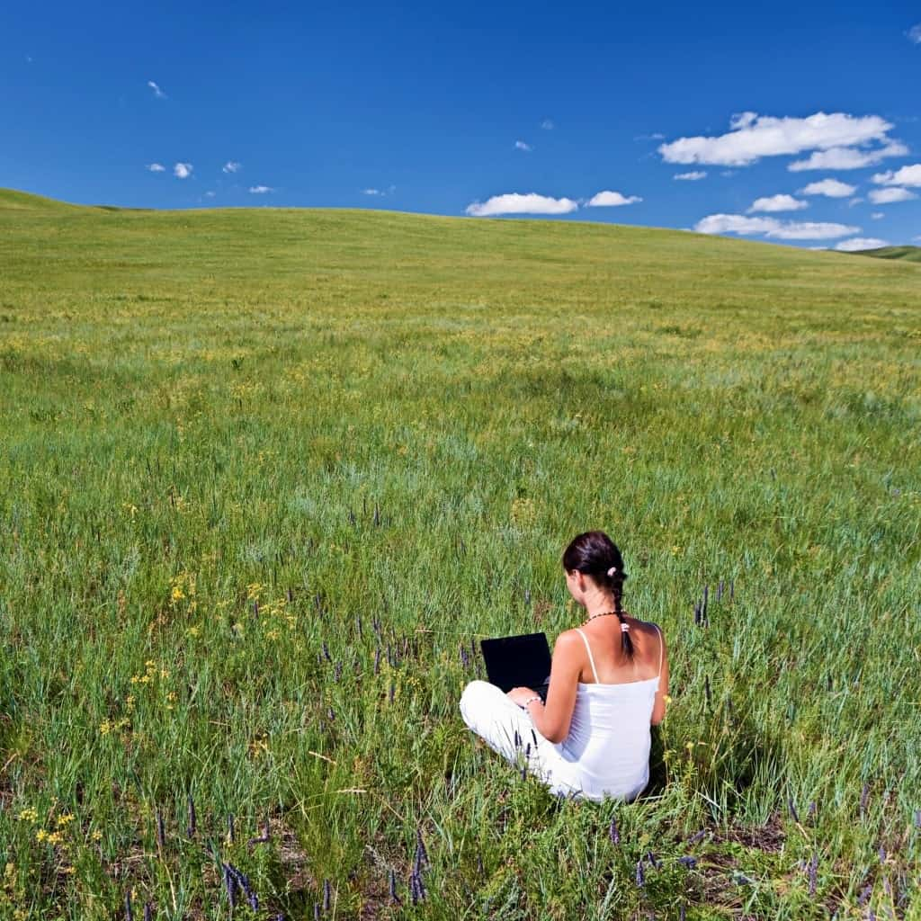 A young woman sitting in the grass telecommuting with a laptop.