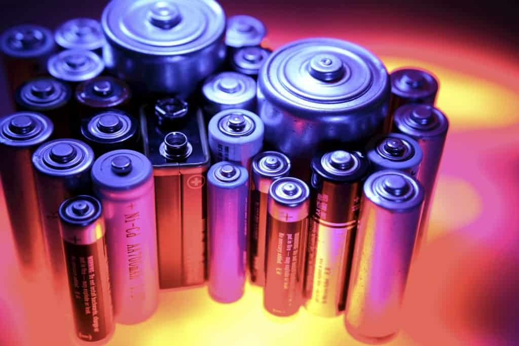 A cluster of batteries on a table.