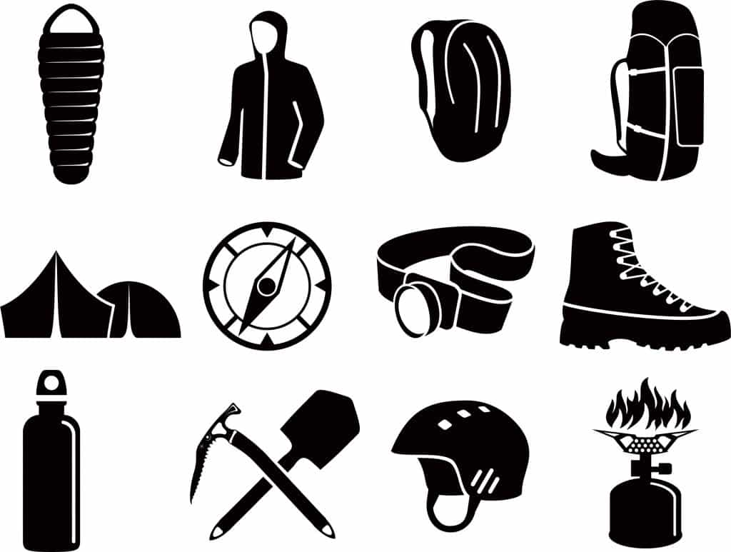 Illustration of various iconic gear items.