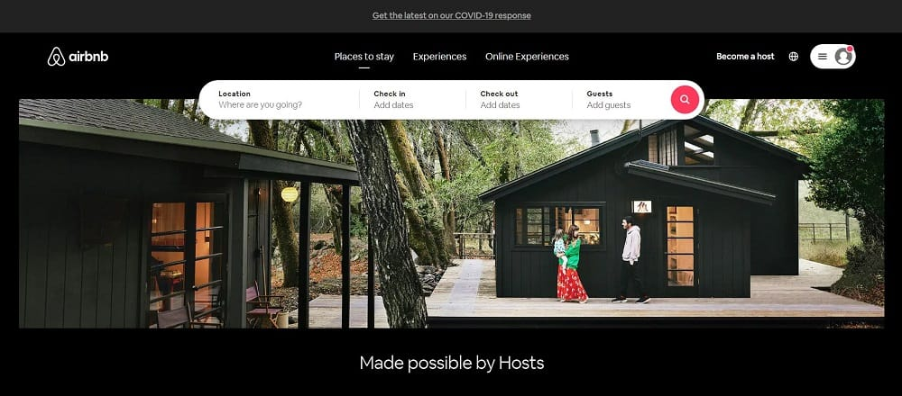 A screenshot of the website of Airbnb travel application.