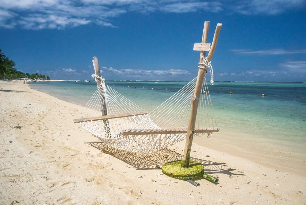 Beach hammock by the seashore.