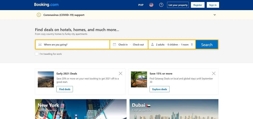 A screenshot of the website of Booking.com travel application.