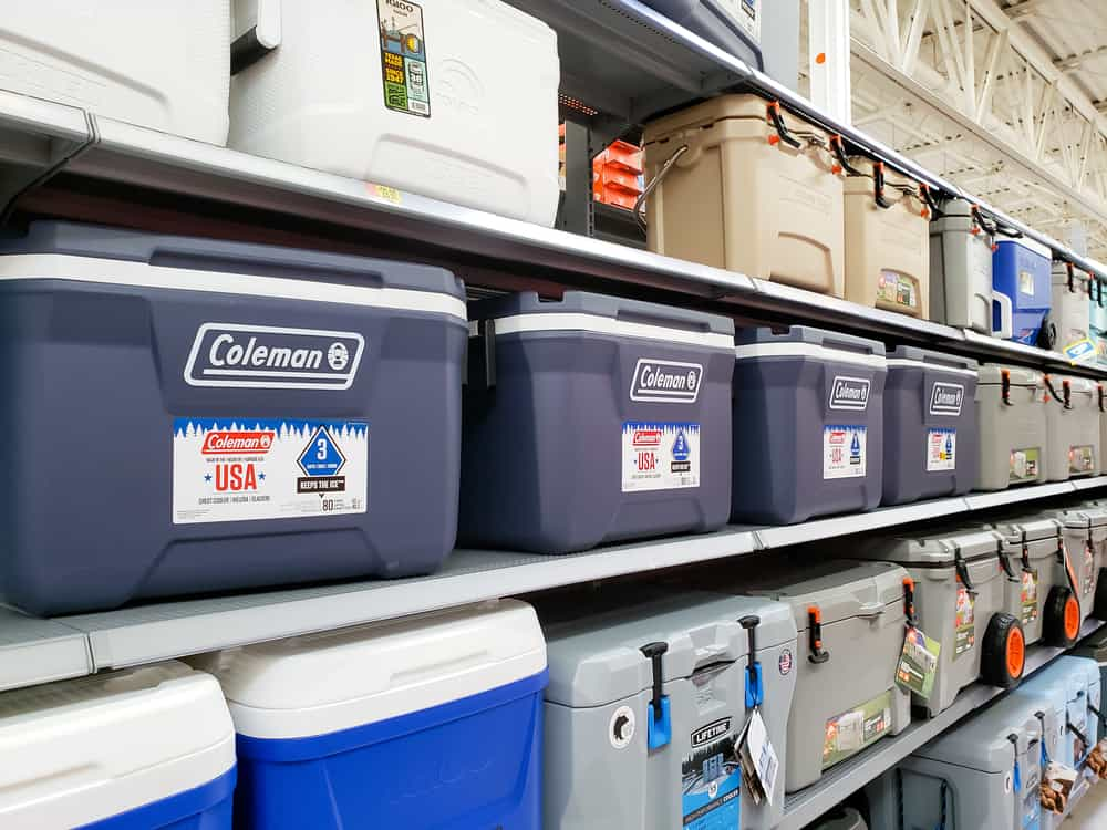 Display of various coolers in a department store.