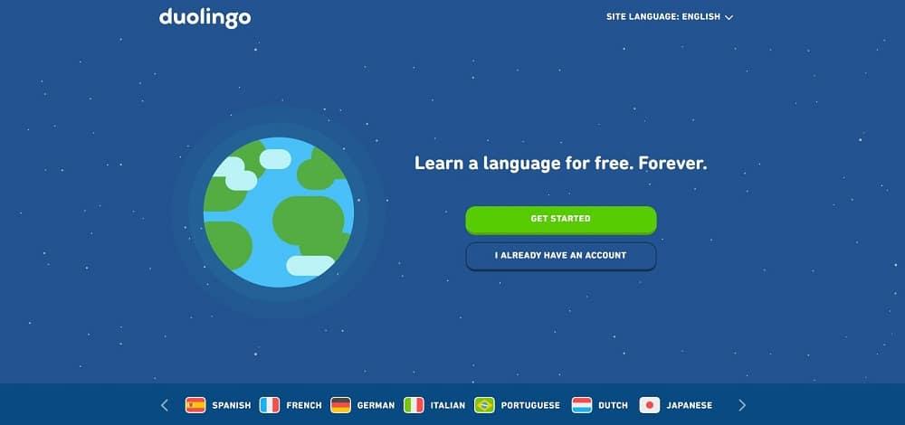 A screenshot of the website of Duolingo travel application.