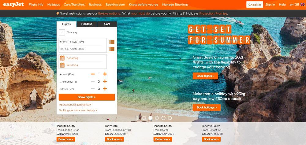 A screenshot of the website of easyJet travel application.