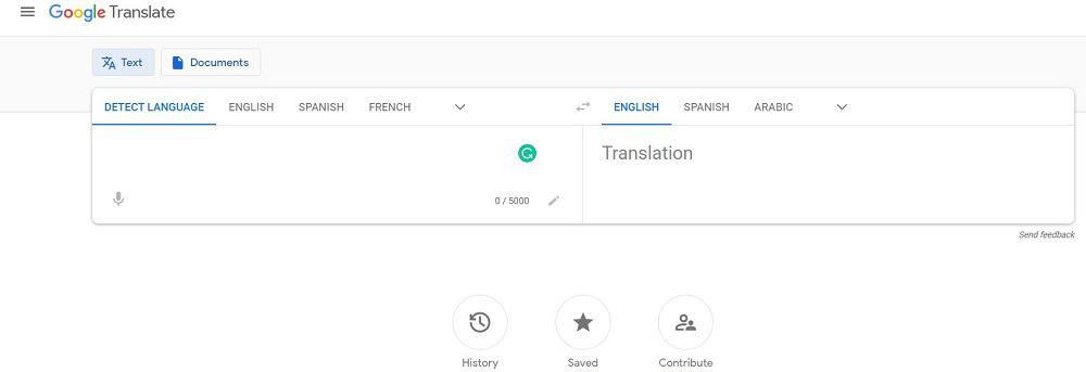 A screenshot of the website of Google Translate travel application.