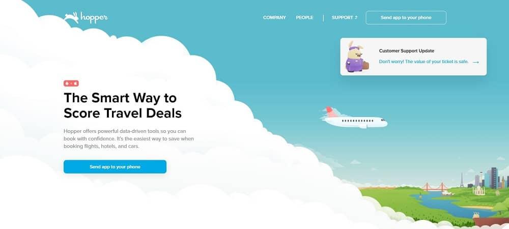A screenshot of the website of Hopper travel application.