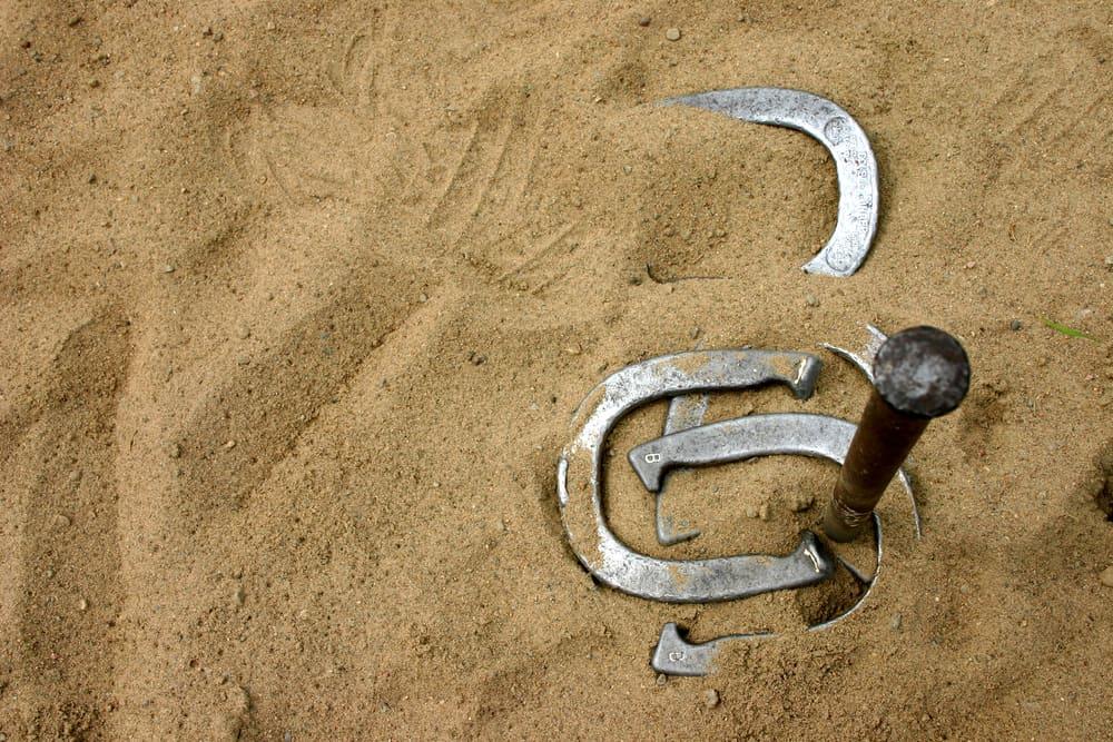 Horseshoe on the sand.