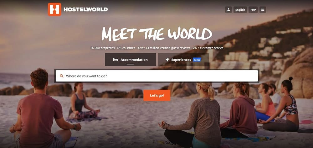 A screenshot of the website of Hostelworld travel application.