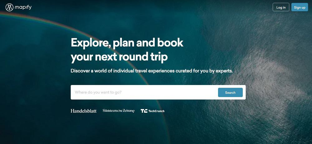 A screenshot of the website of mapify travel application.