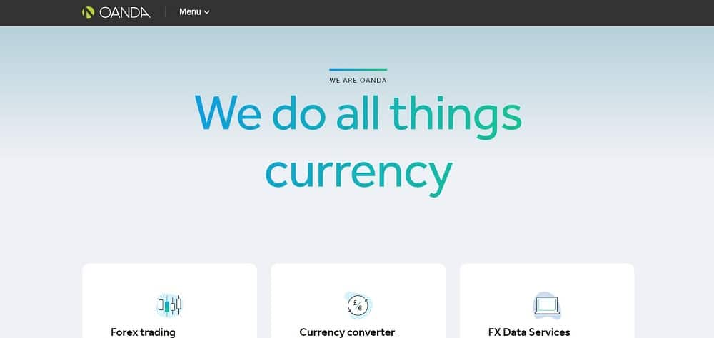 A screenshot of the website of Oanda Currency travel application.