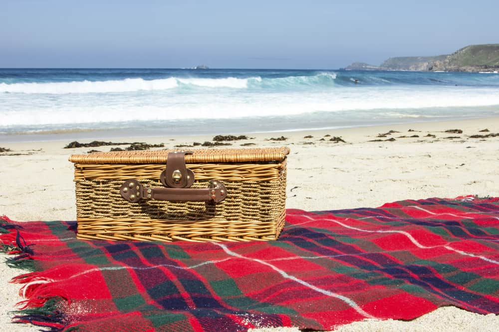 Red checkered picnic blanket topped with a wicker basket by the seaside.