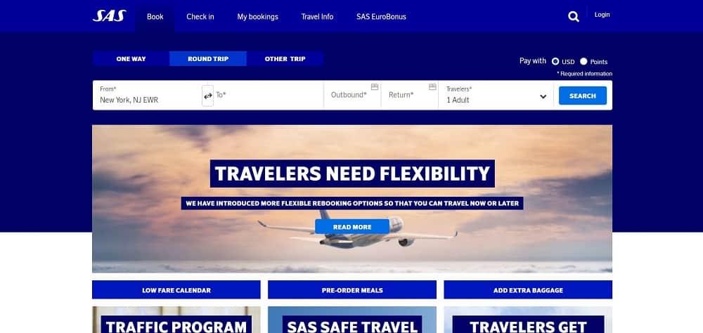 A screenshot of the website of Scandinavian Airlines travel application.