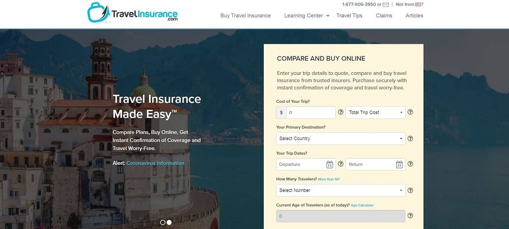 A screenshot of the website of Travel Insurance travel application.