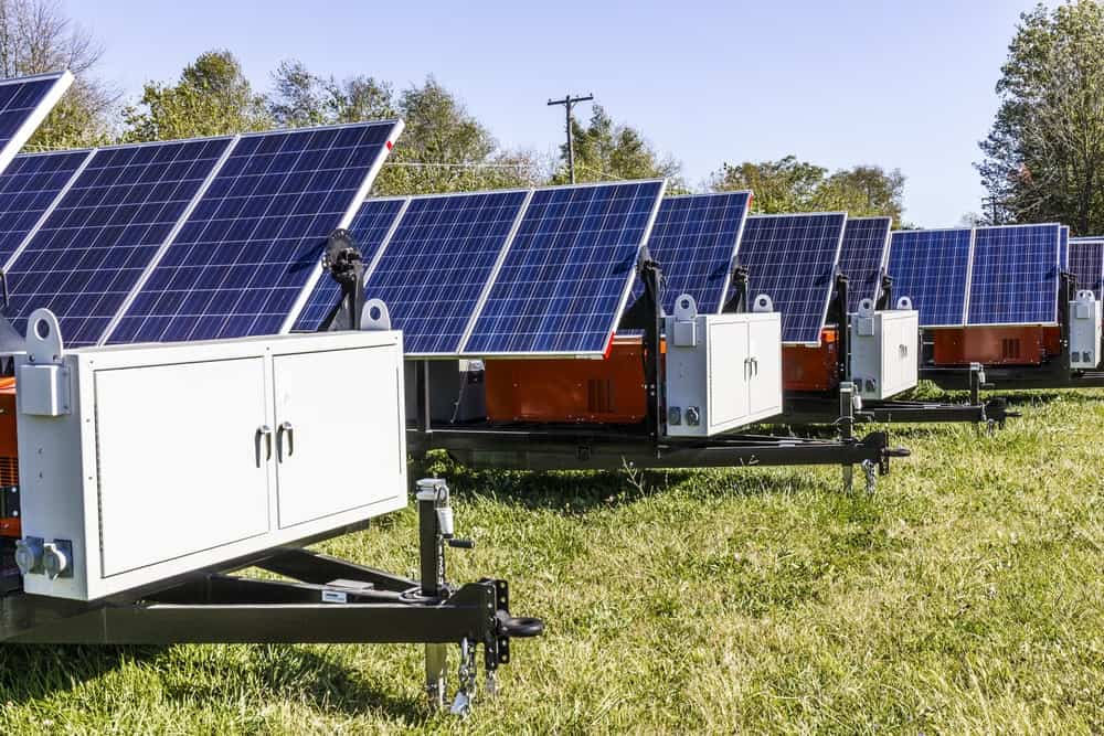 This is a look at a row of mobile photovoltaic solar panels.