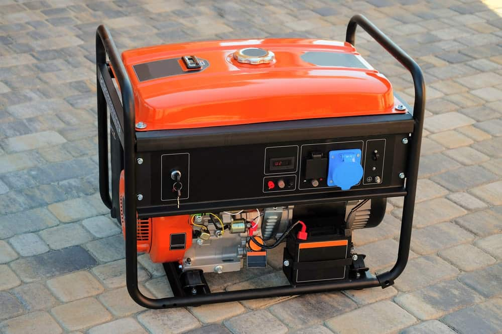This is a close look at a gasoline-powered portable generator.