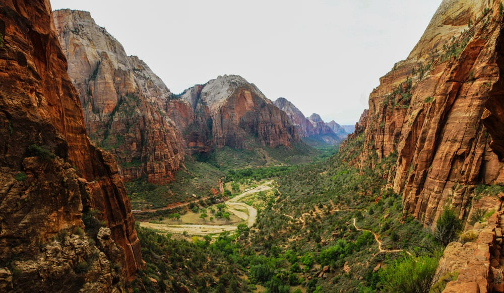 This is a sweeping view of Zion National Park.