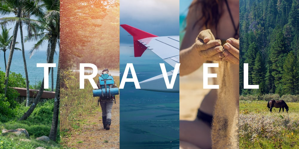 A collage of of a variety of travel sceneries.