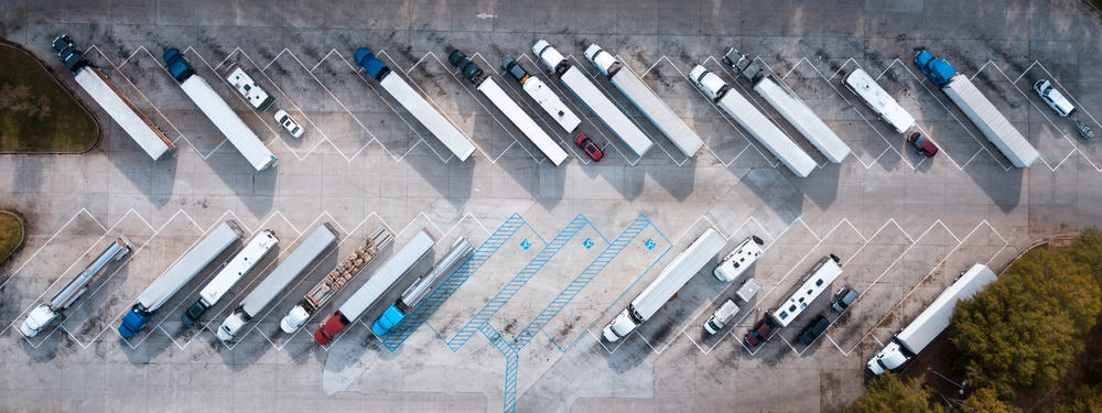 Top view of the truck stop.