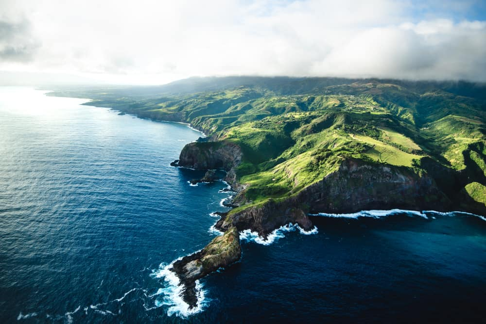 This is an aerial view of the Maui coast in Hawaii.