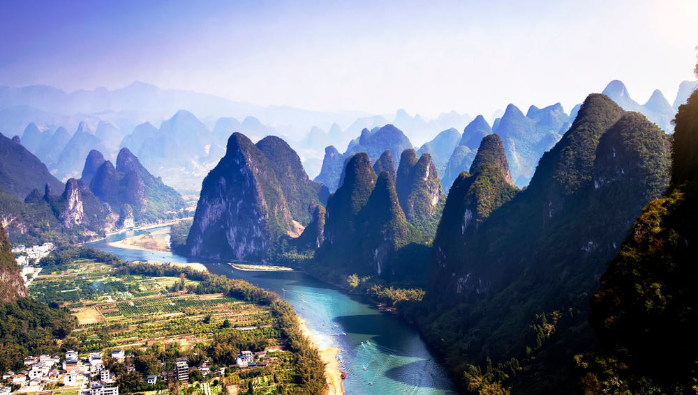 This is an aerial view of the unique landforms in China.