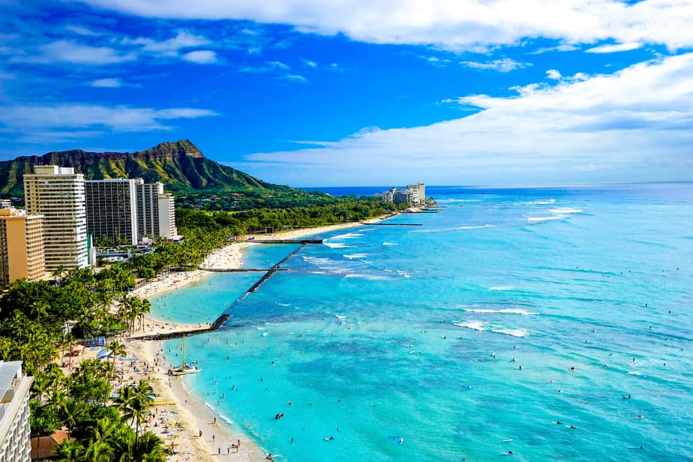 This is an aerial view of Waikiki Beach in Oahu, Hawaii.