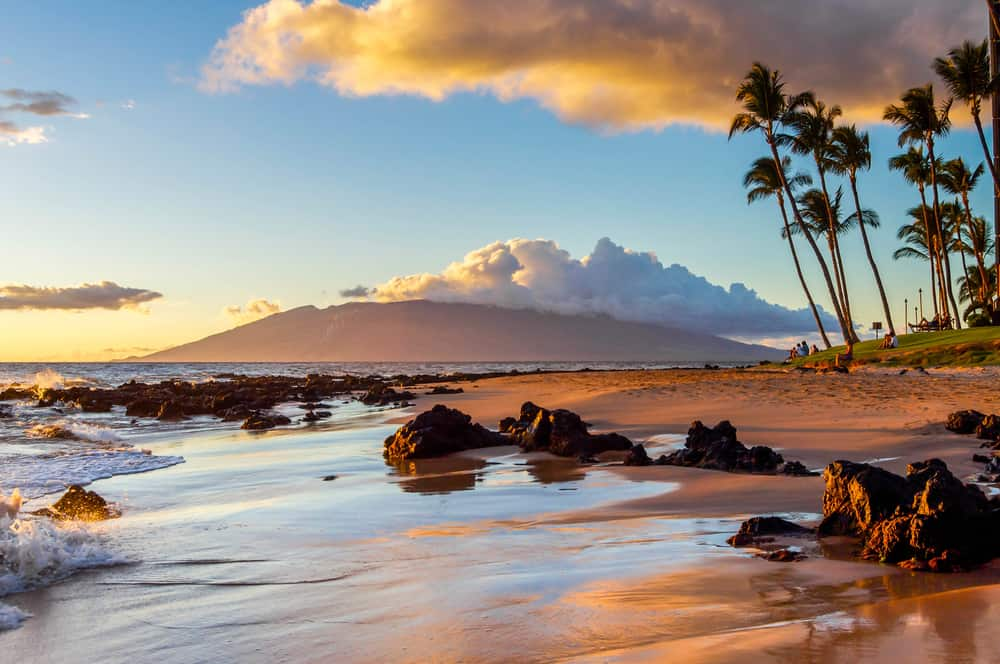 This is a close look at the beach of Maui during sunset.