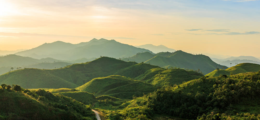 This is an aerial view of the mountain range in Thailand.